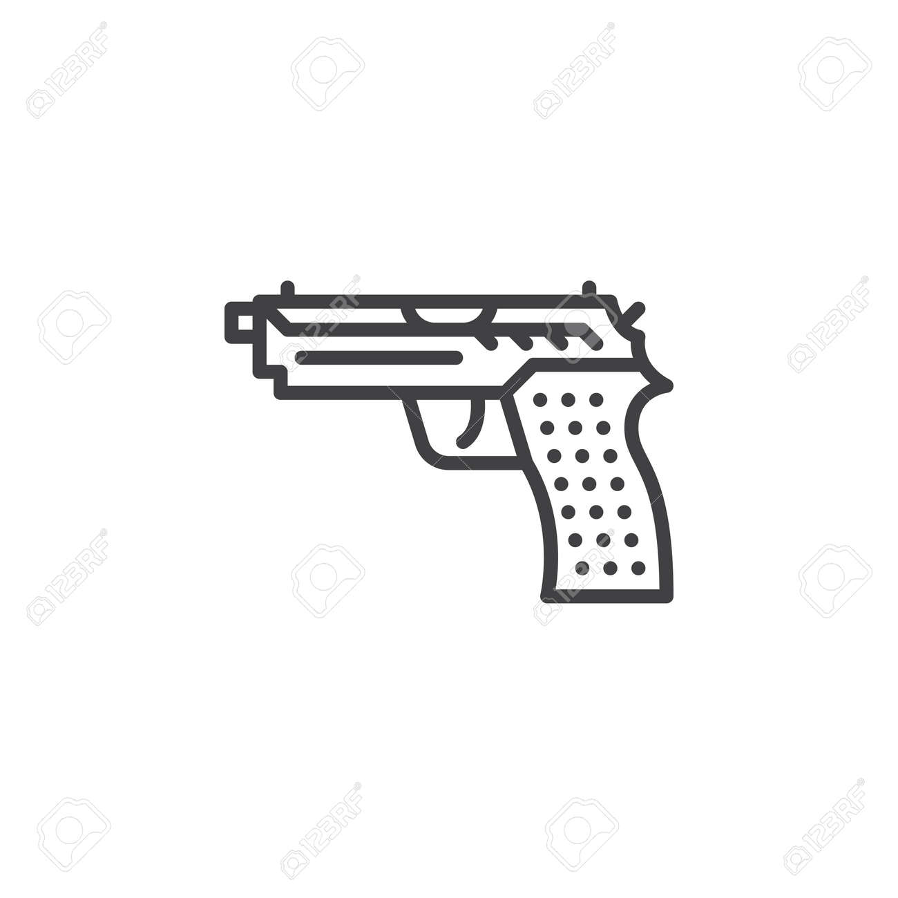 Gun pistol line icon outline vector sign linear pictogram gun pistol line icon outline vector sign linear pictogram isolated on white biocorpaavc Images
