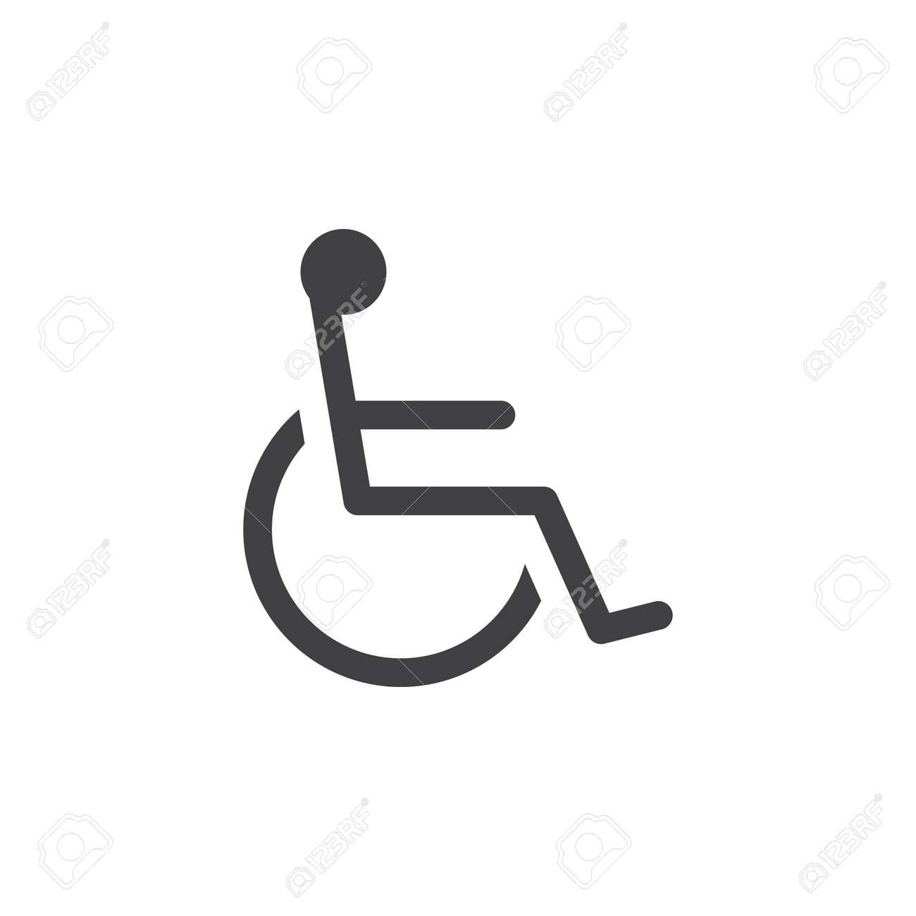 handicap symbol icon vector wheelchair solid logo illustration