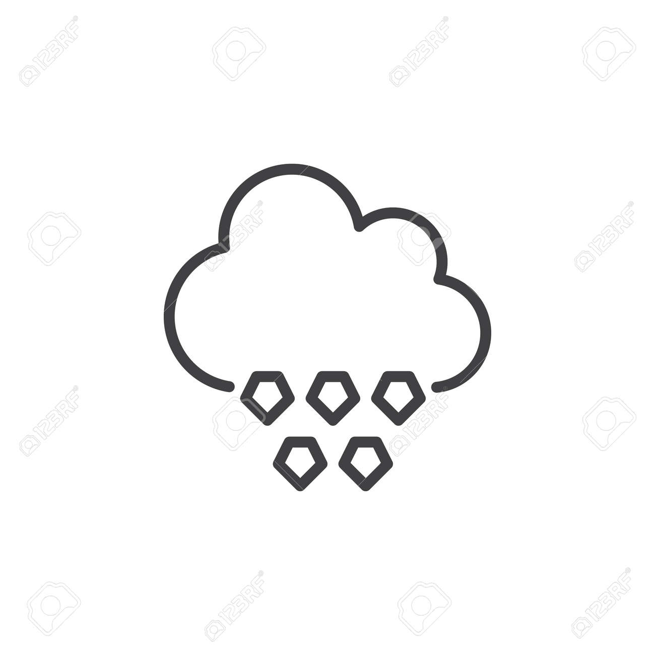 cloud hail line icon, outline vector sign, linear style pictogram Hail Clip Art