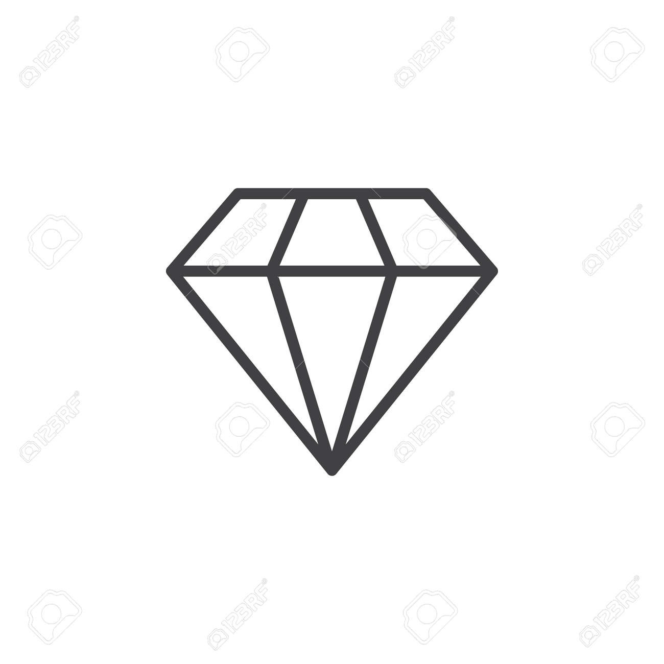 Diamond line icon, outline vector sign, linear style pictogram