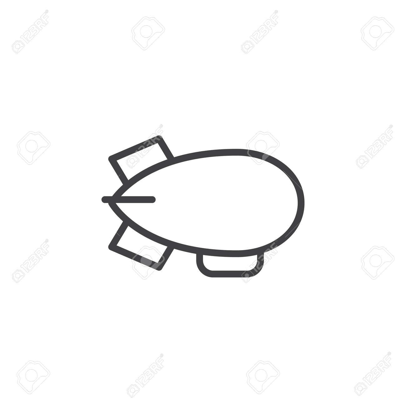 Airship, zeppelin line icon, outline vector sign, linear style