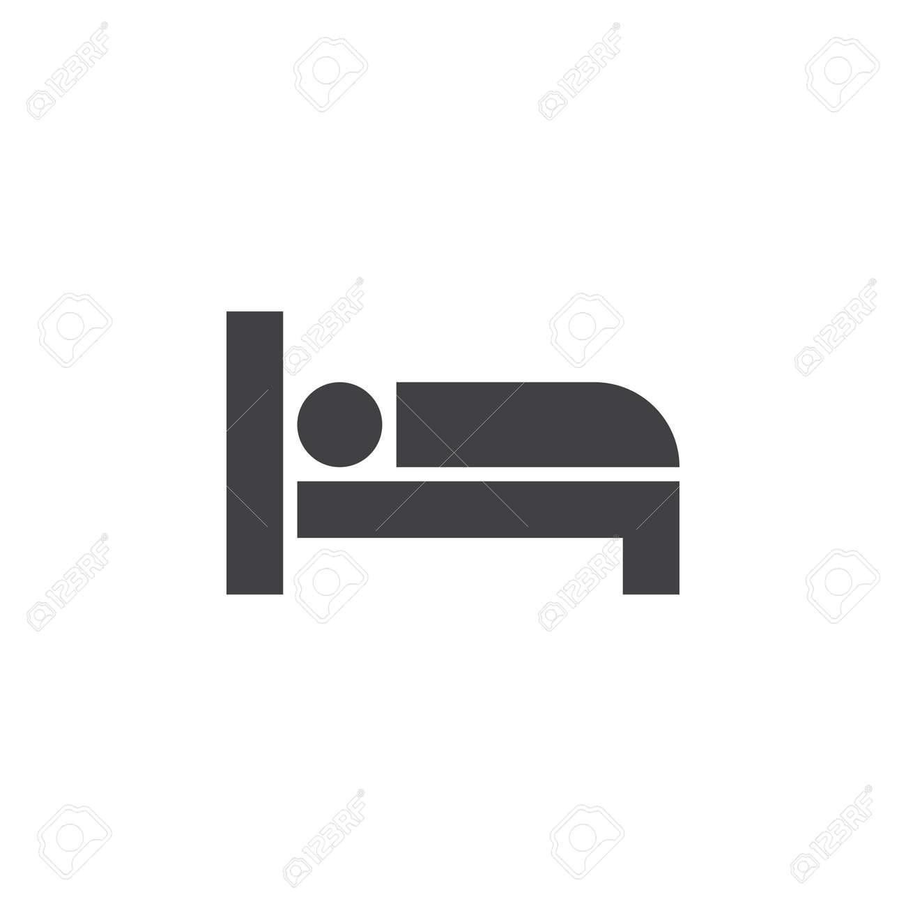 Bett Icon Vektor Hotelzimmer Solide Logo Piktogramm Isoliert Auf