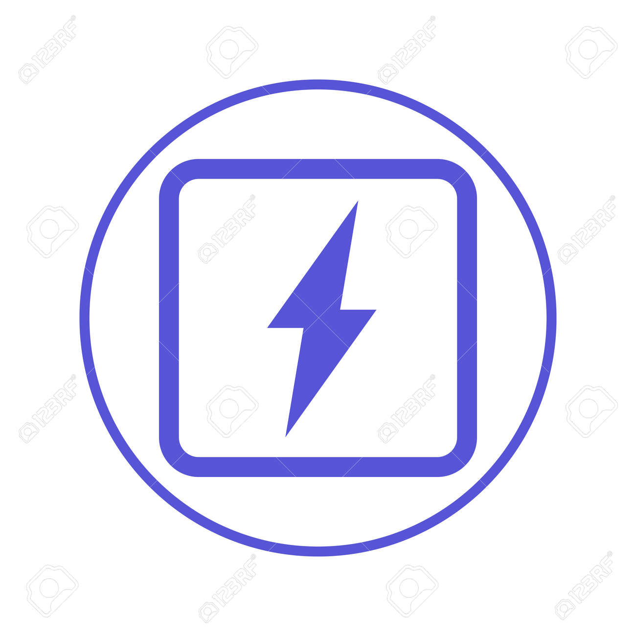 Electric Power, Lightning Bolt Circular Line Icon. Round Sign ...