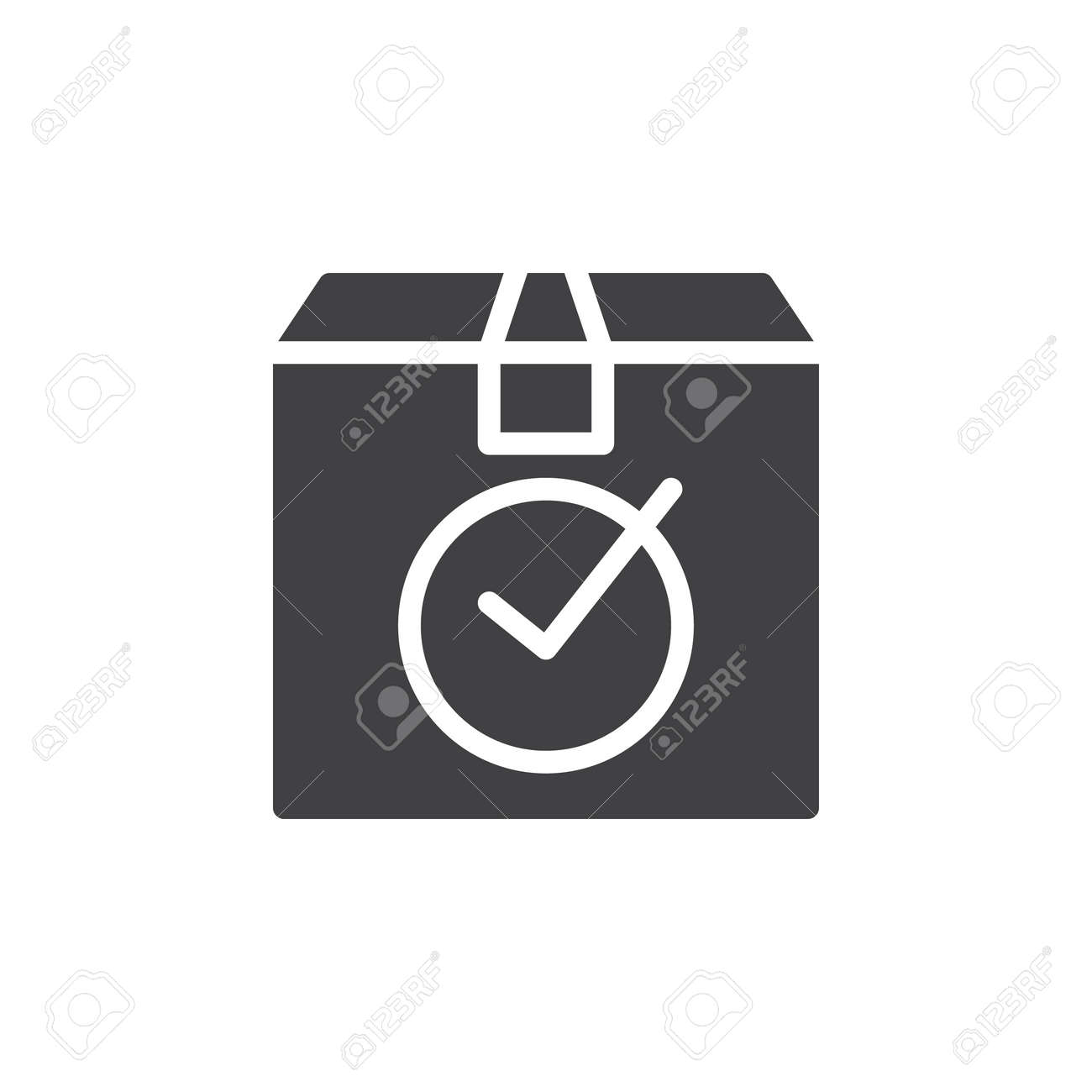 Package Box With Check Mark Icon Vector Filled Flat Sign Solid