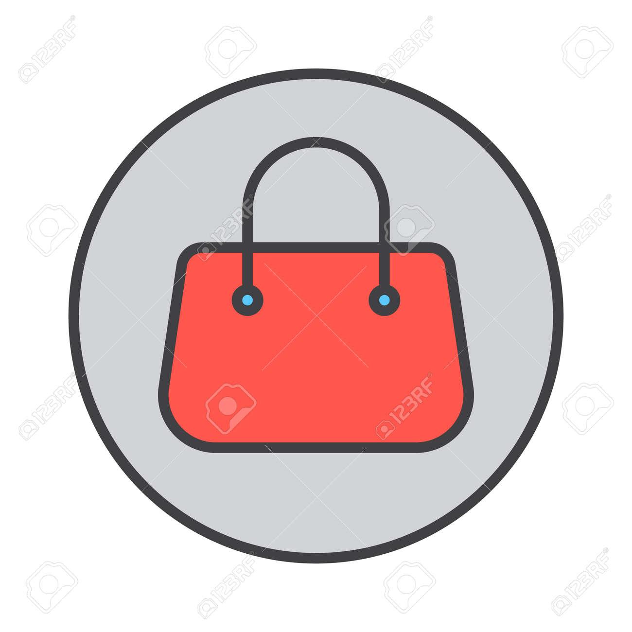 Icône de contour rempli sac à main sac à main, rond signe de vecteur coloré, pictogramme circulaire. Symbole, illustration de logo