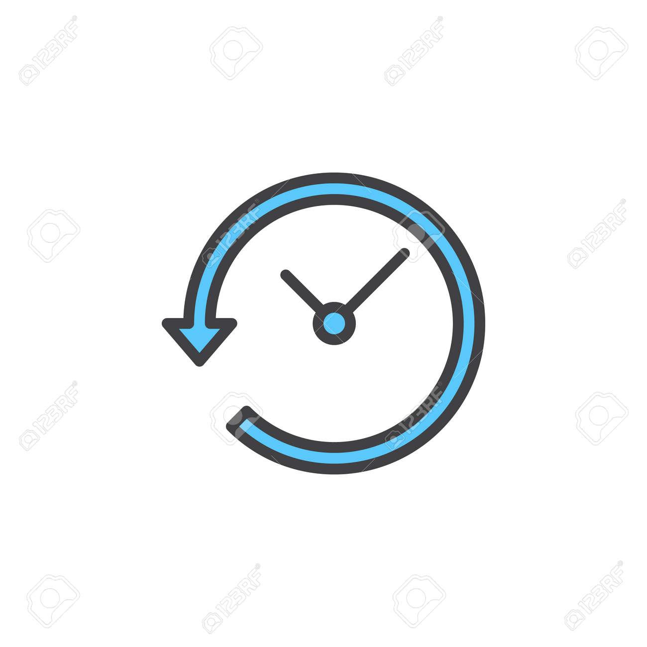 Reloj Colorido Lineal Vector BlancoSímbolo Contorno Flecha Alrededor LíneaSeñal Aislado Del De Con En Icono LlenoPictograma La lcKuT3F1J