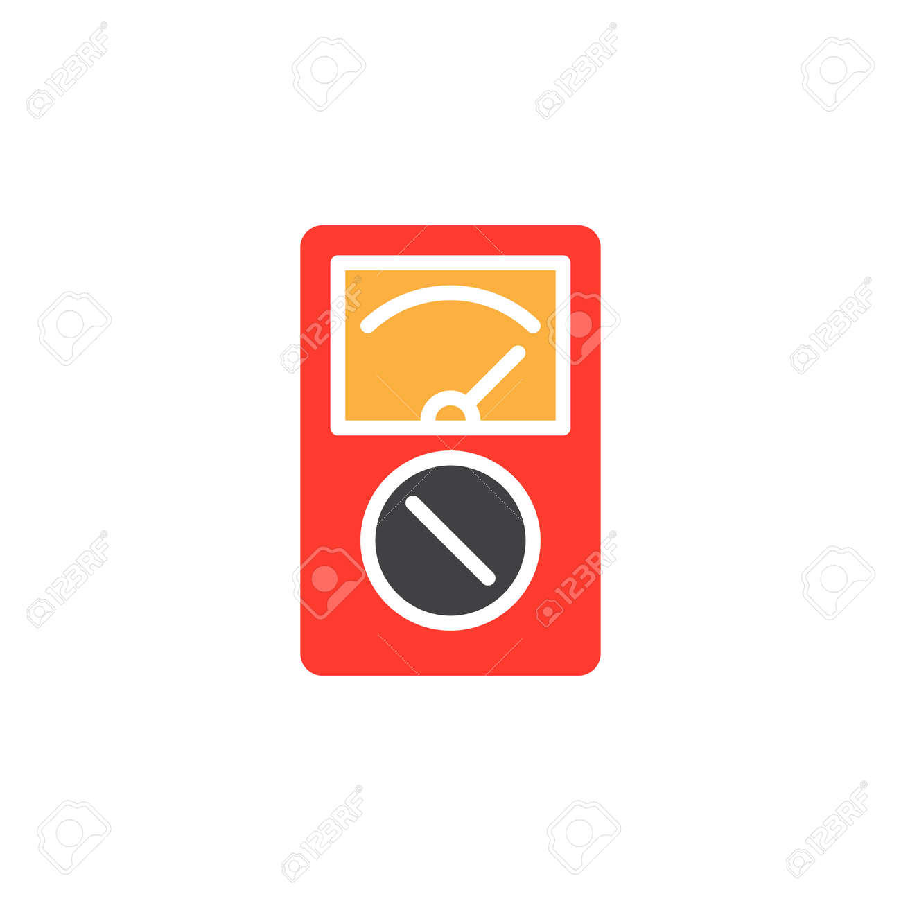 Analog Multimeter Colorful Vector Icon Filled Flat Sign Solid