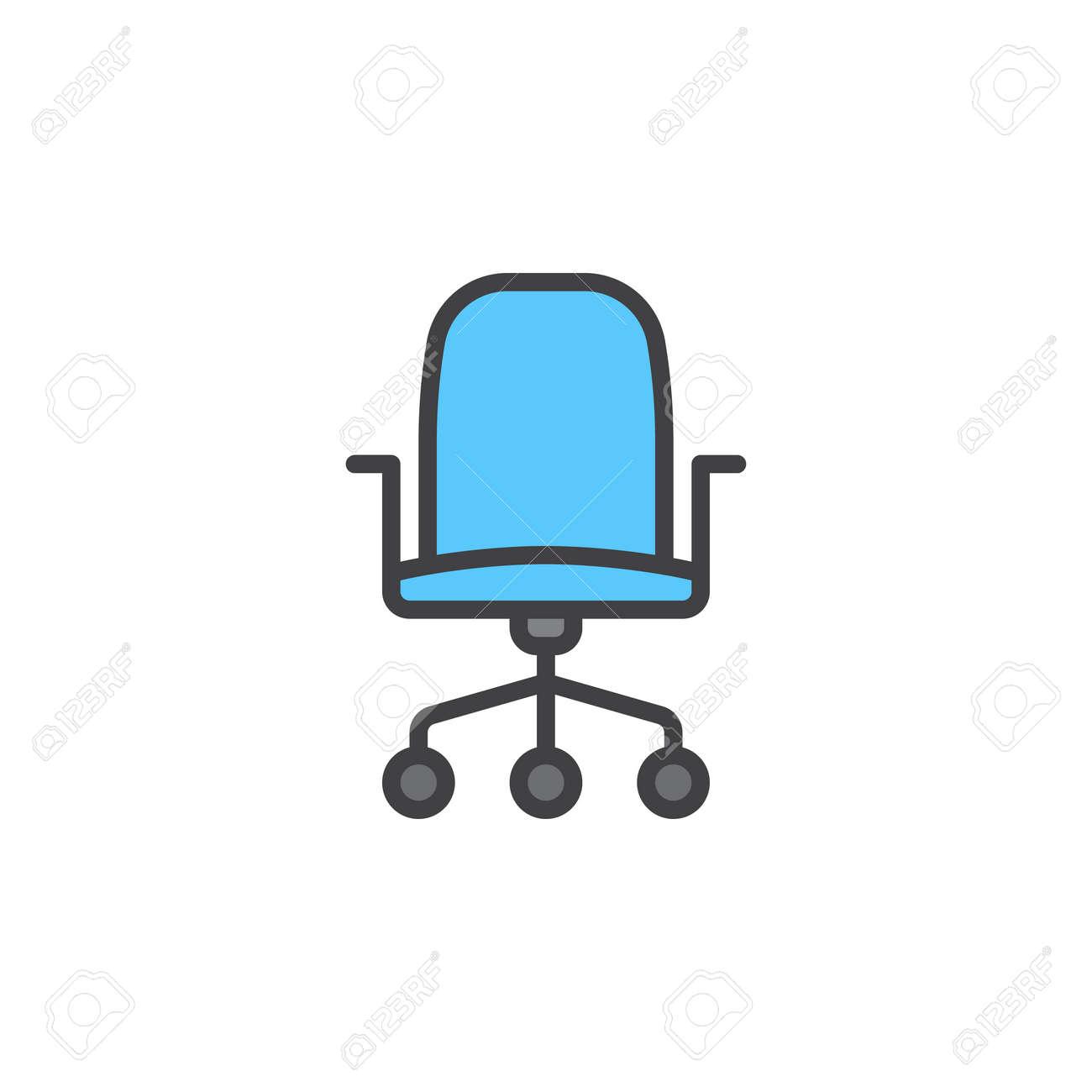 Icono De LlenoPictograma Silla BlancoSímboloIlustración En Línea OficinaSigno Contorno Aislado Vector Lineal Colorido Del La 34j5ARL