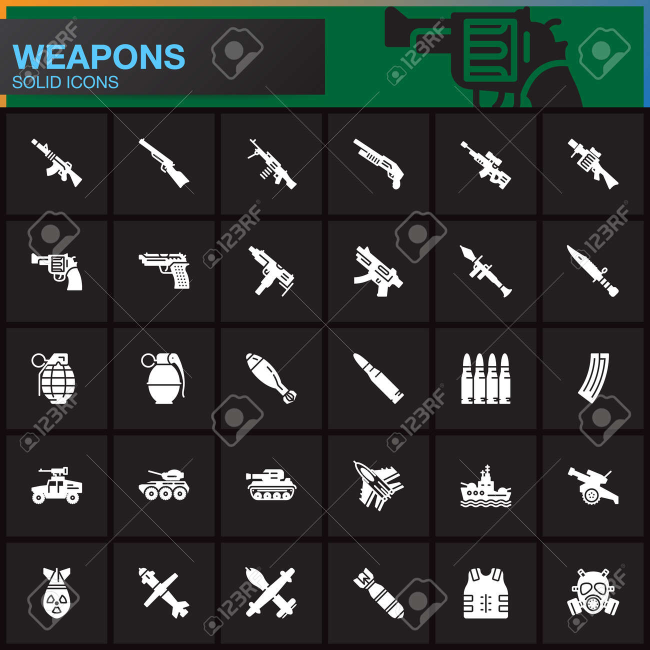 Weapons Vector Icons Set Arms Solid Symbol Collection Filled