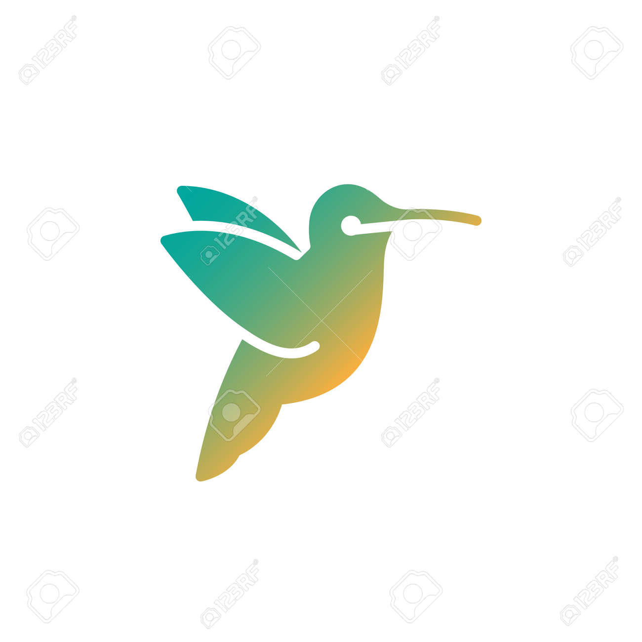 hummingbird icon vector filled flat sign solid colorful pictogram