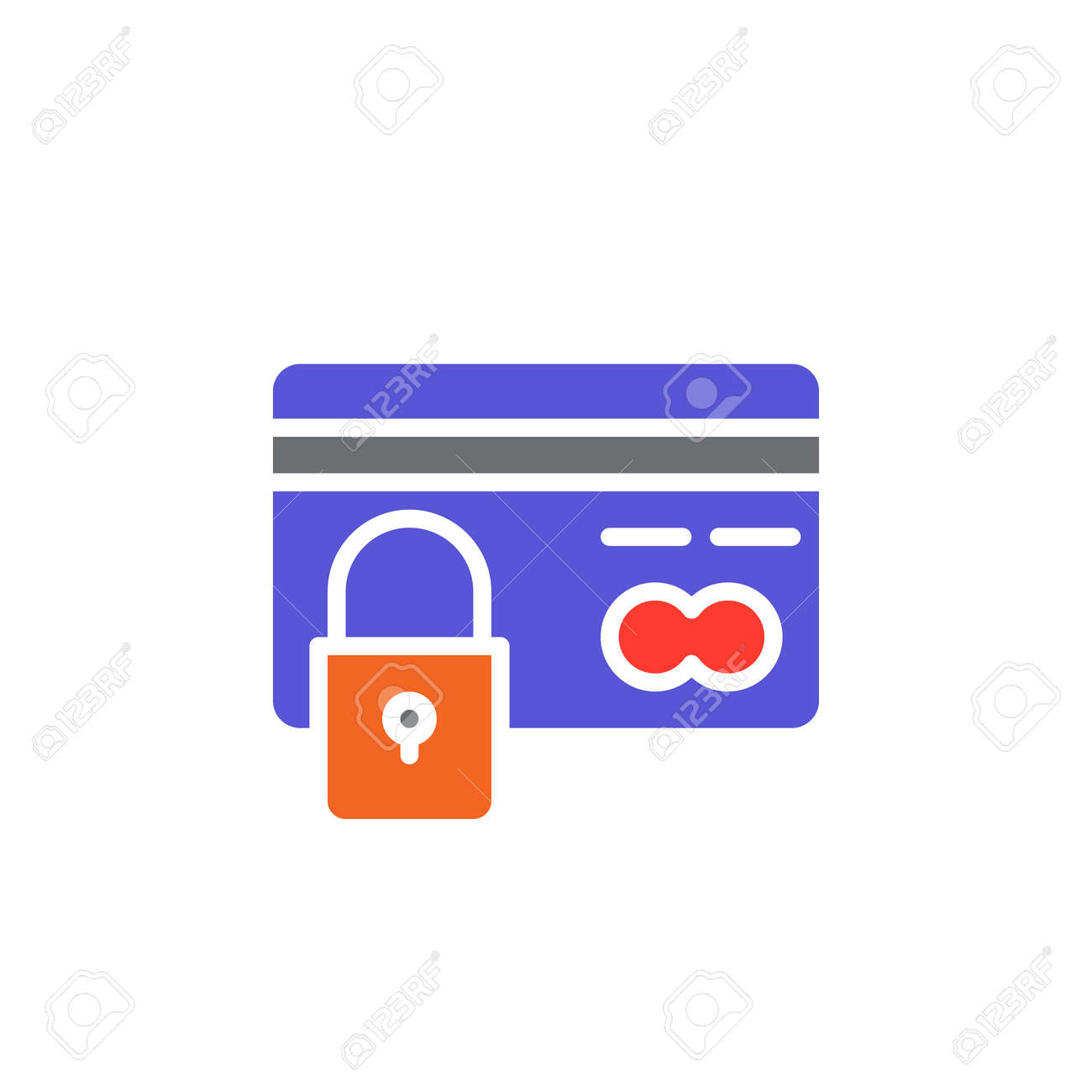 credit card with lock icon vector filled flat sign solid colorful rh 123rf com  black and white credit card logos vector
