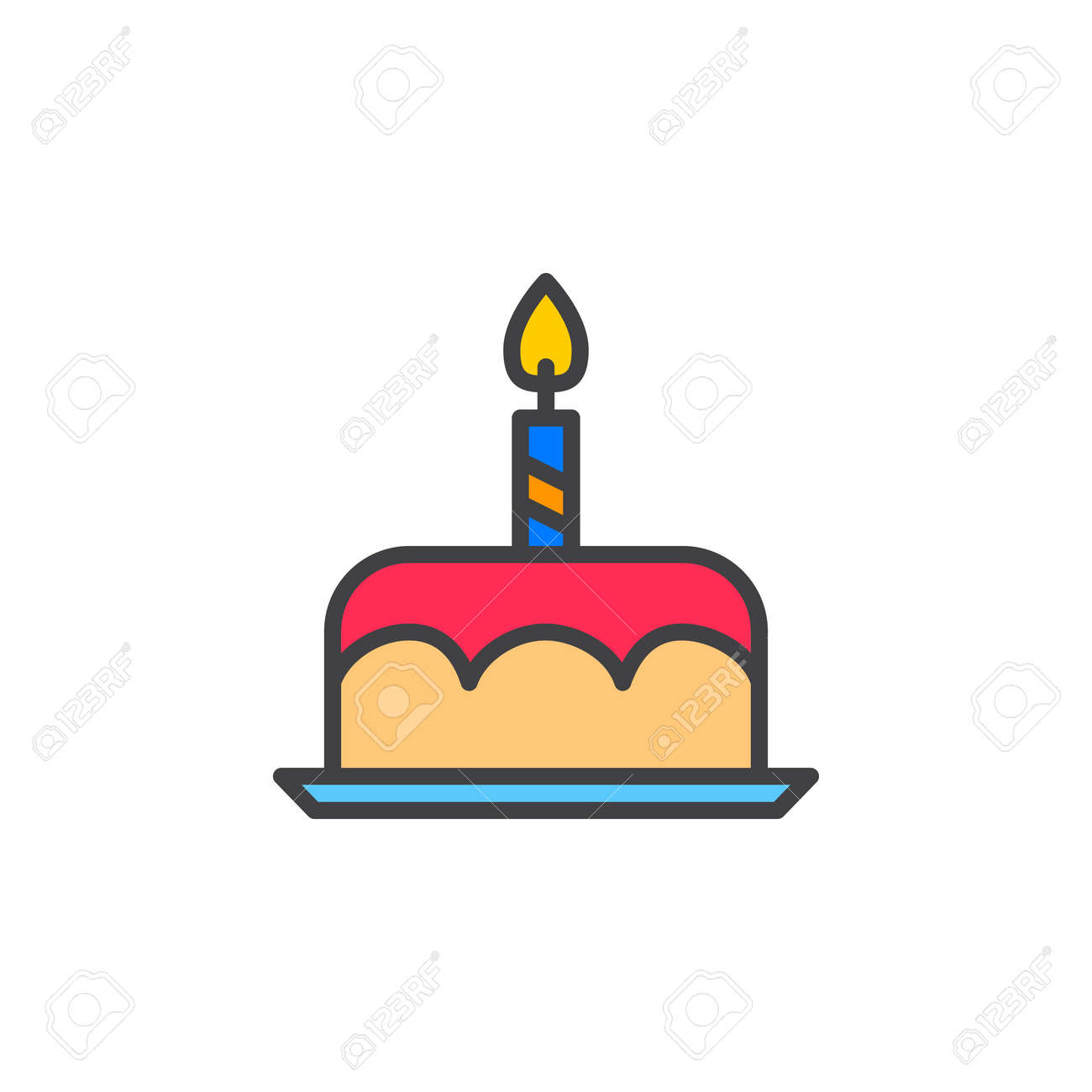 Birthday Cake Line Icon Filled Outline Vector Sign Linear Colorful