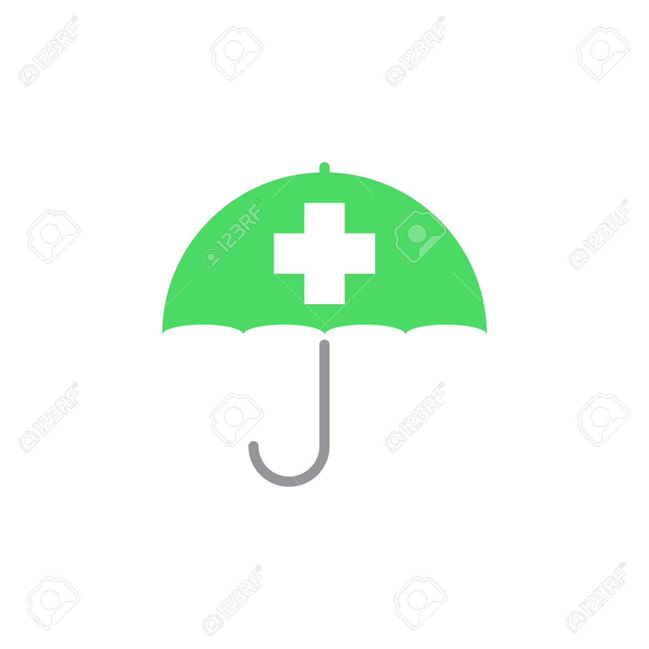 Health Insurance Symbol Umbrella With Cross Icon Vector Solid Logo Illustration Colorful Pictogram