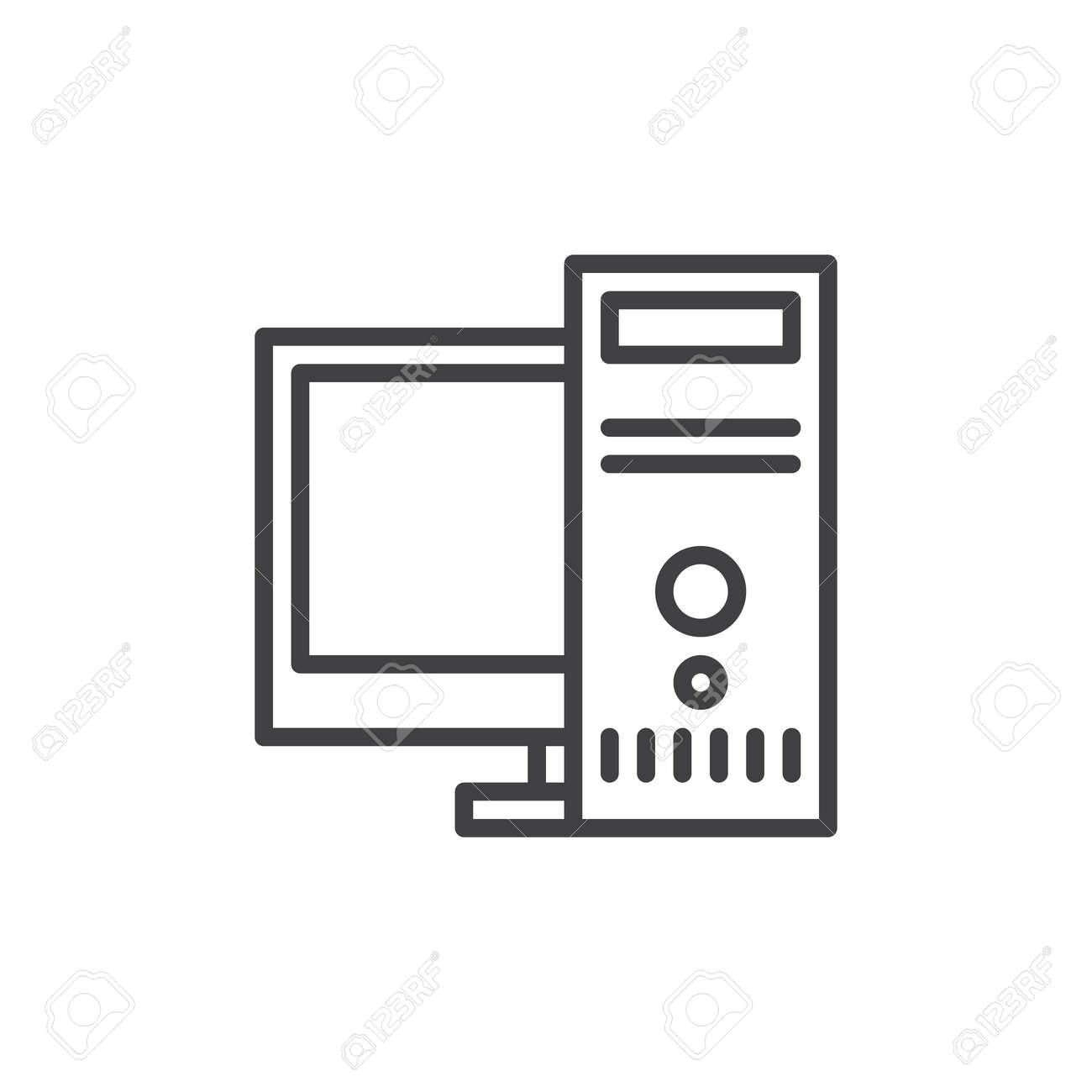 desktop computer workstation line icon outline vector sign