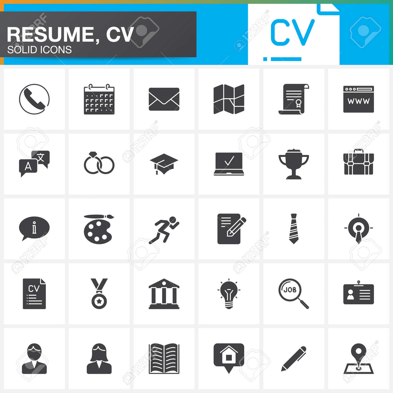 vector icons set for resume or cv. modern solid symbol collection