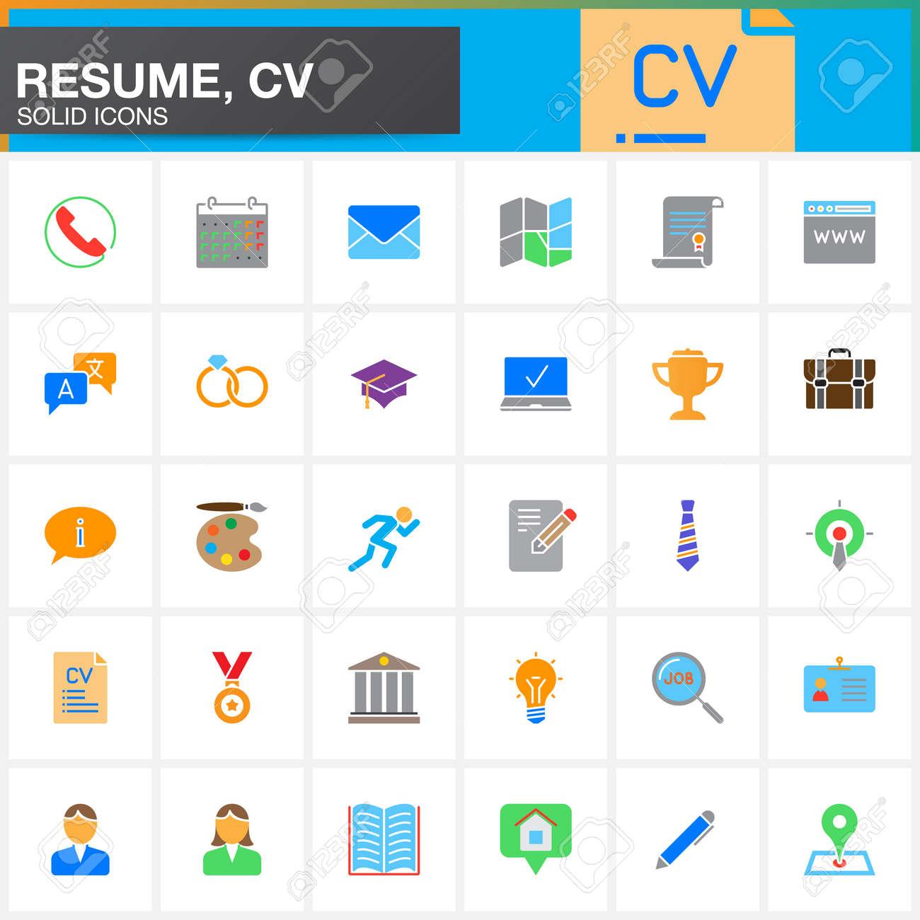 Los Iconos Del Vector Fijaron Para El Curriculum Vitae O El Cv