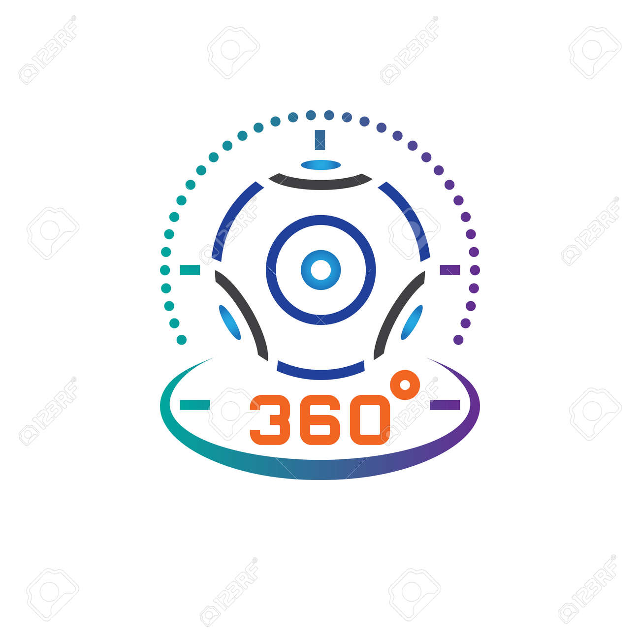360 degree panoramic video camera line icon, virtual reality
