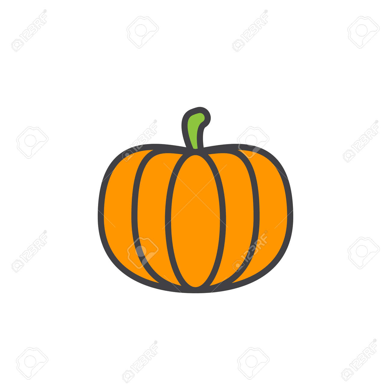 Pumpkin Line Icon Filled Outline Vector Sign Linear Colorful