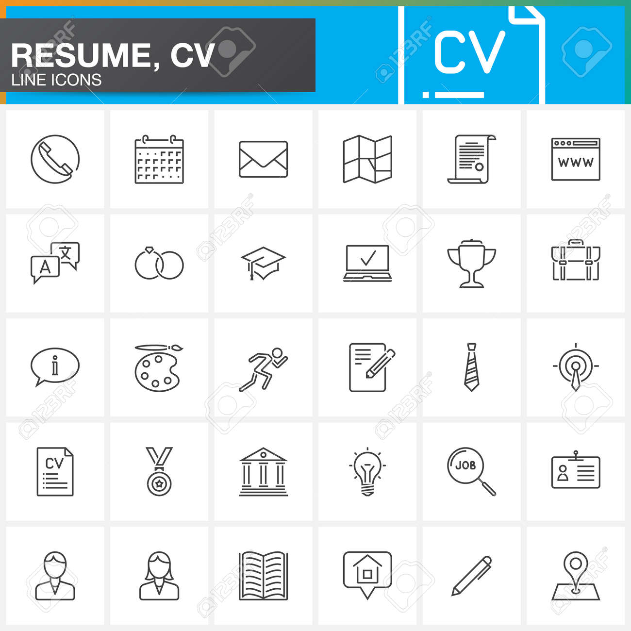 line icons set for resume or cv outline vector symbol collection linear pictogram pack - Free Resume Icons