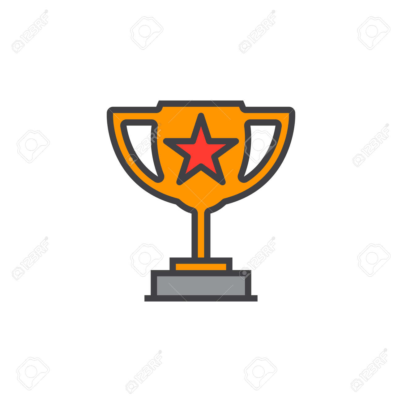 Winner trophy symbol loving cup with star line icon filled loving cup with star line icon filled outline vector sign sciox Gallery