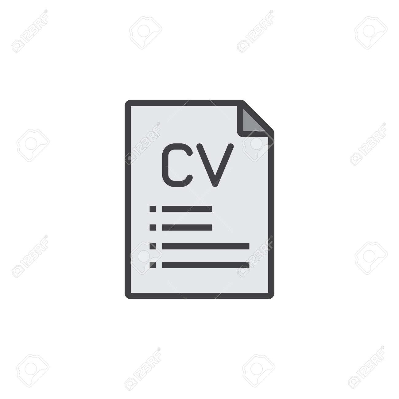 Cv Resume Line Icon Filled Outline Vector Sign Linear Pictogram