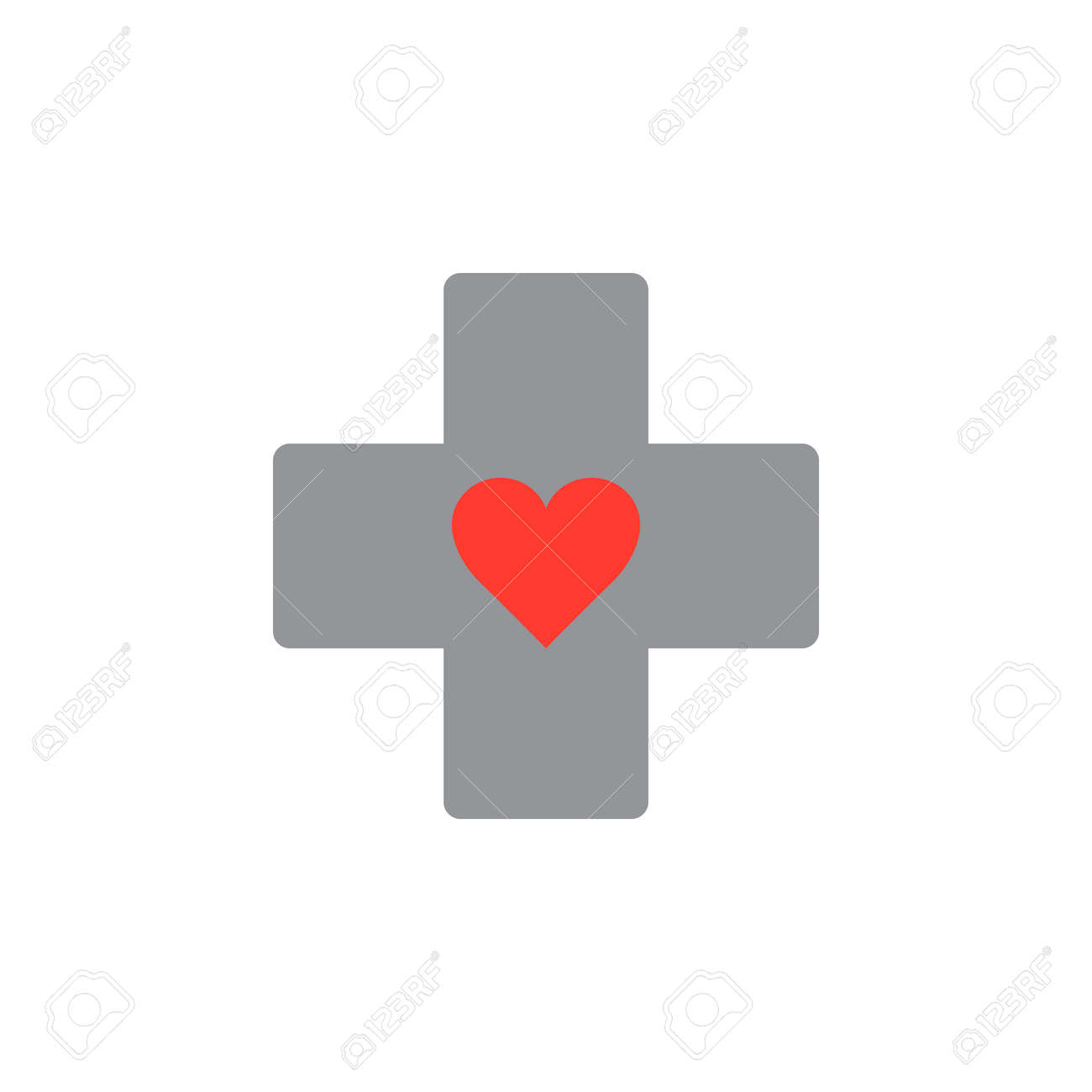 Medical Symbol Heart In Cross Icon Vector Solid Logo Illustration