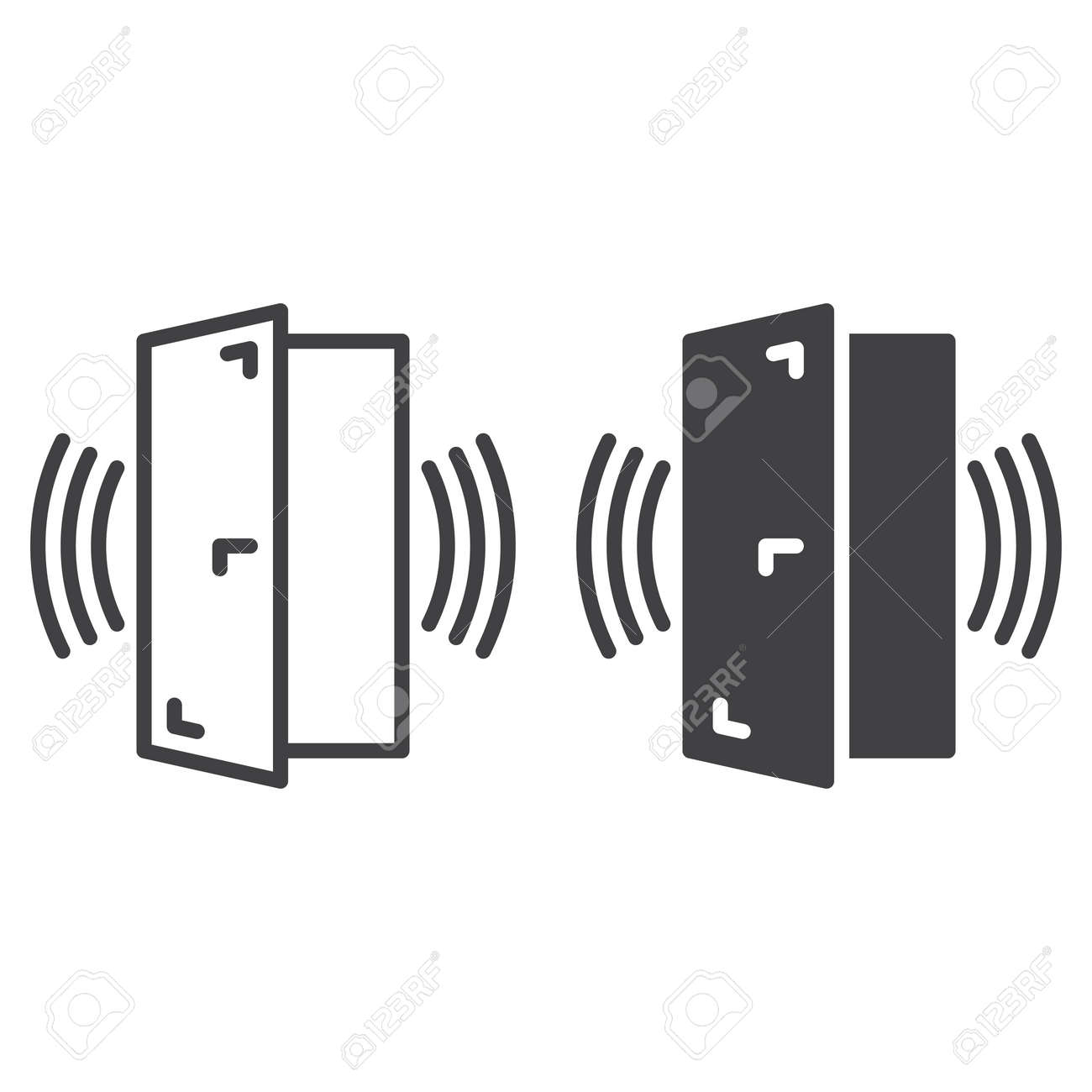 Door sensor alarm line and solid icon, outline and filled vector