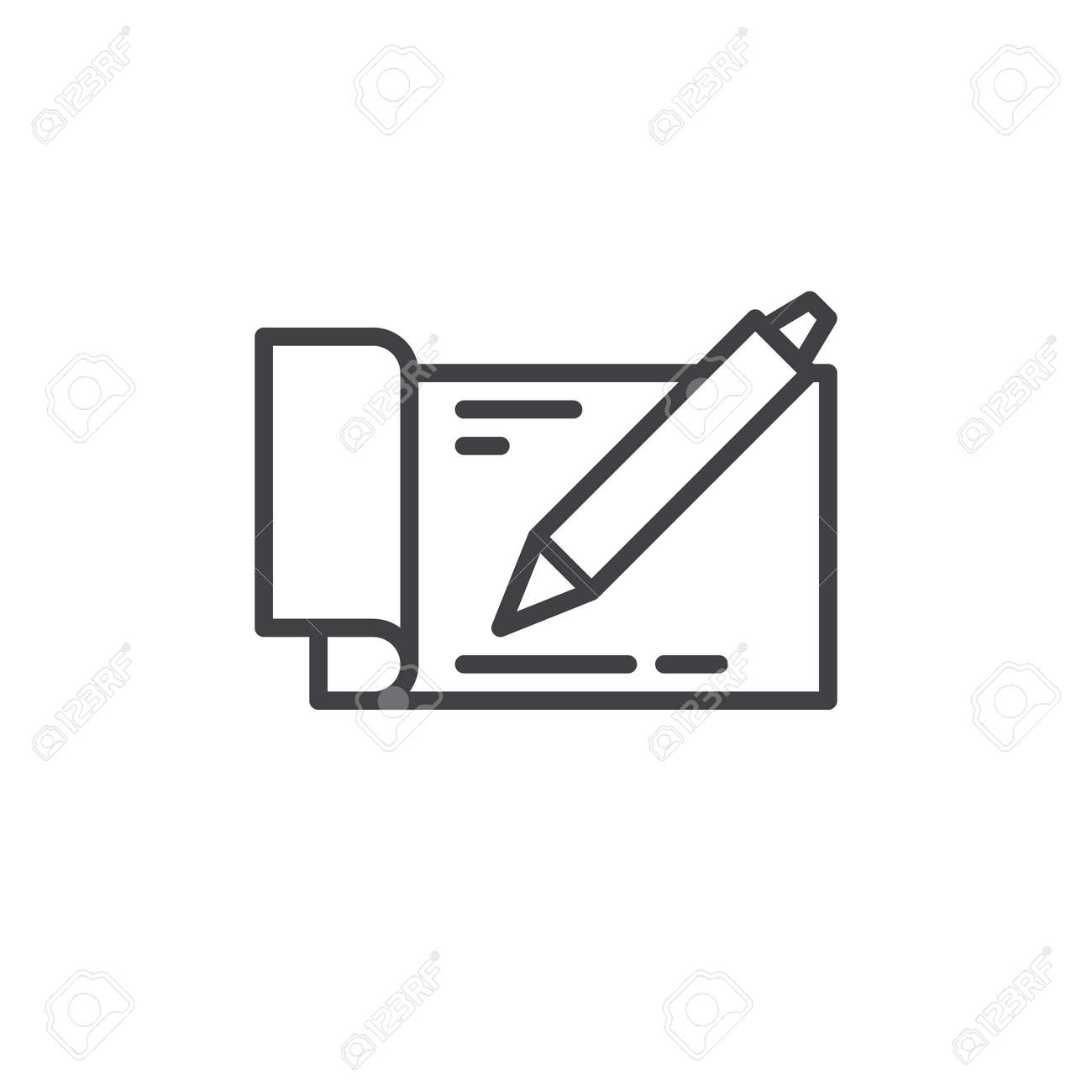 checkbook with pen line icon outline vector sign linear style
