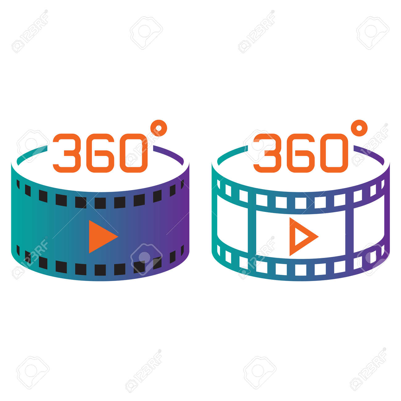 360 degree panoramic video symbol  line icon, outline and solid