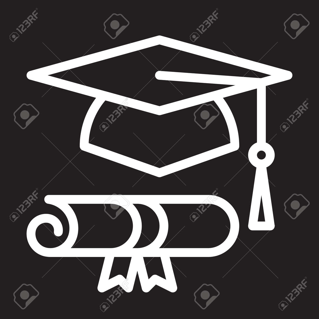 graduation hat and diploma line icon white outline sign vector