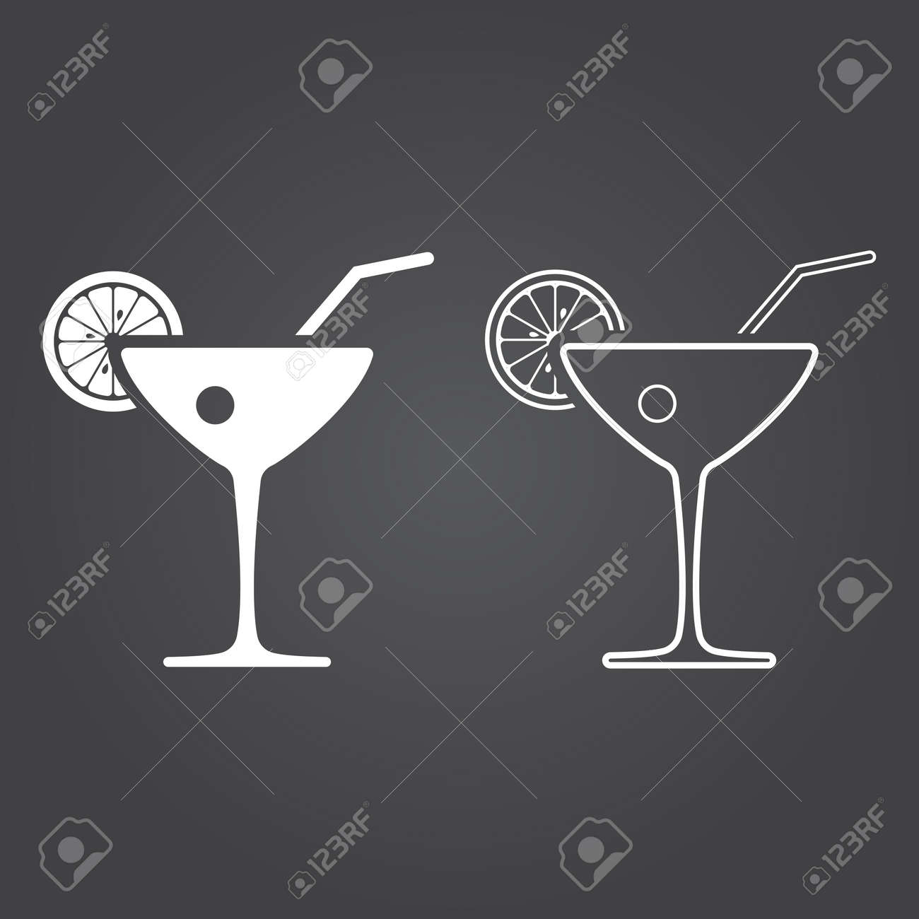 cocktail icon  Solid and Outline Versions  White icons on a dark