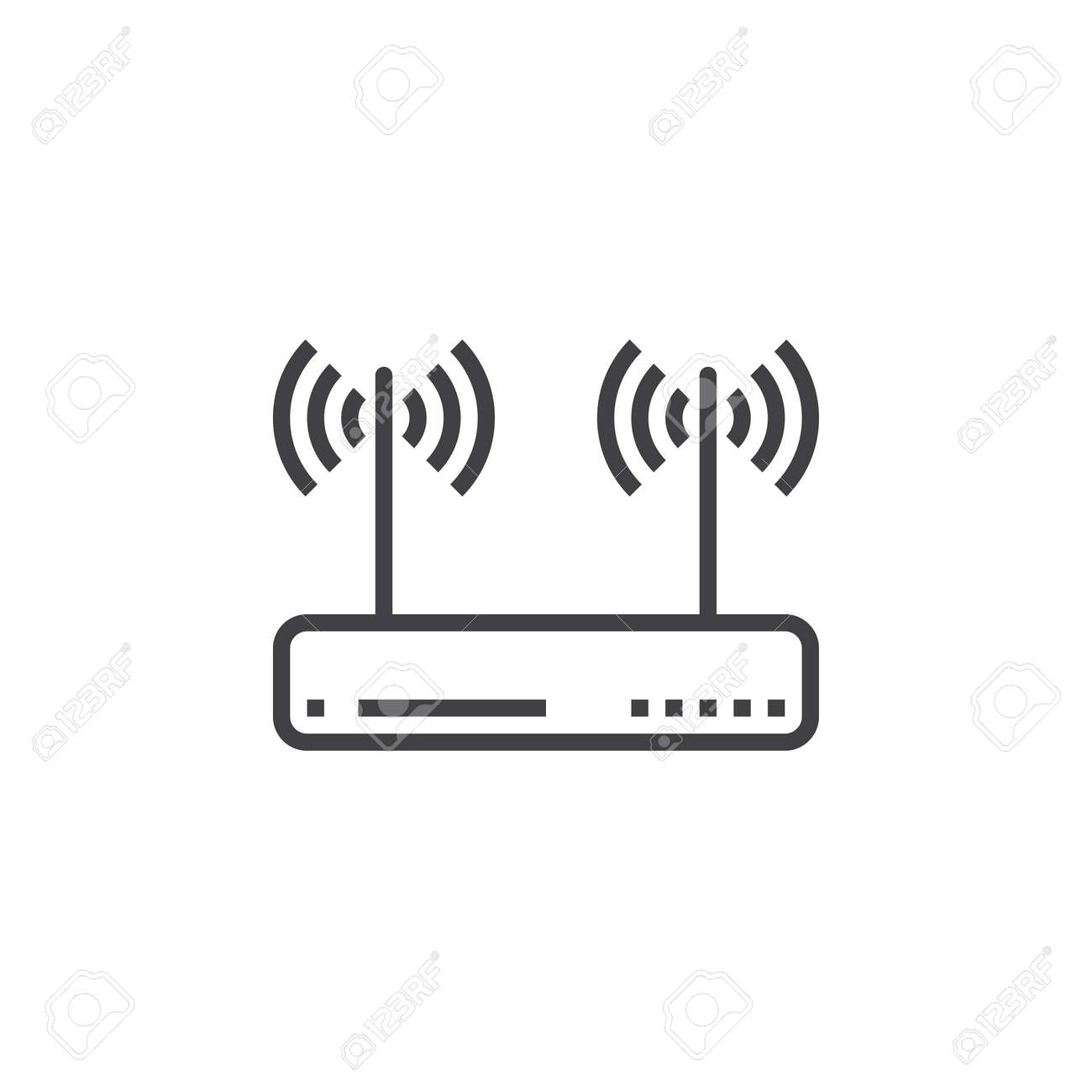 wifi router, wireless dsl modem line icon, outline vector sign,