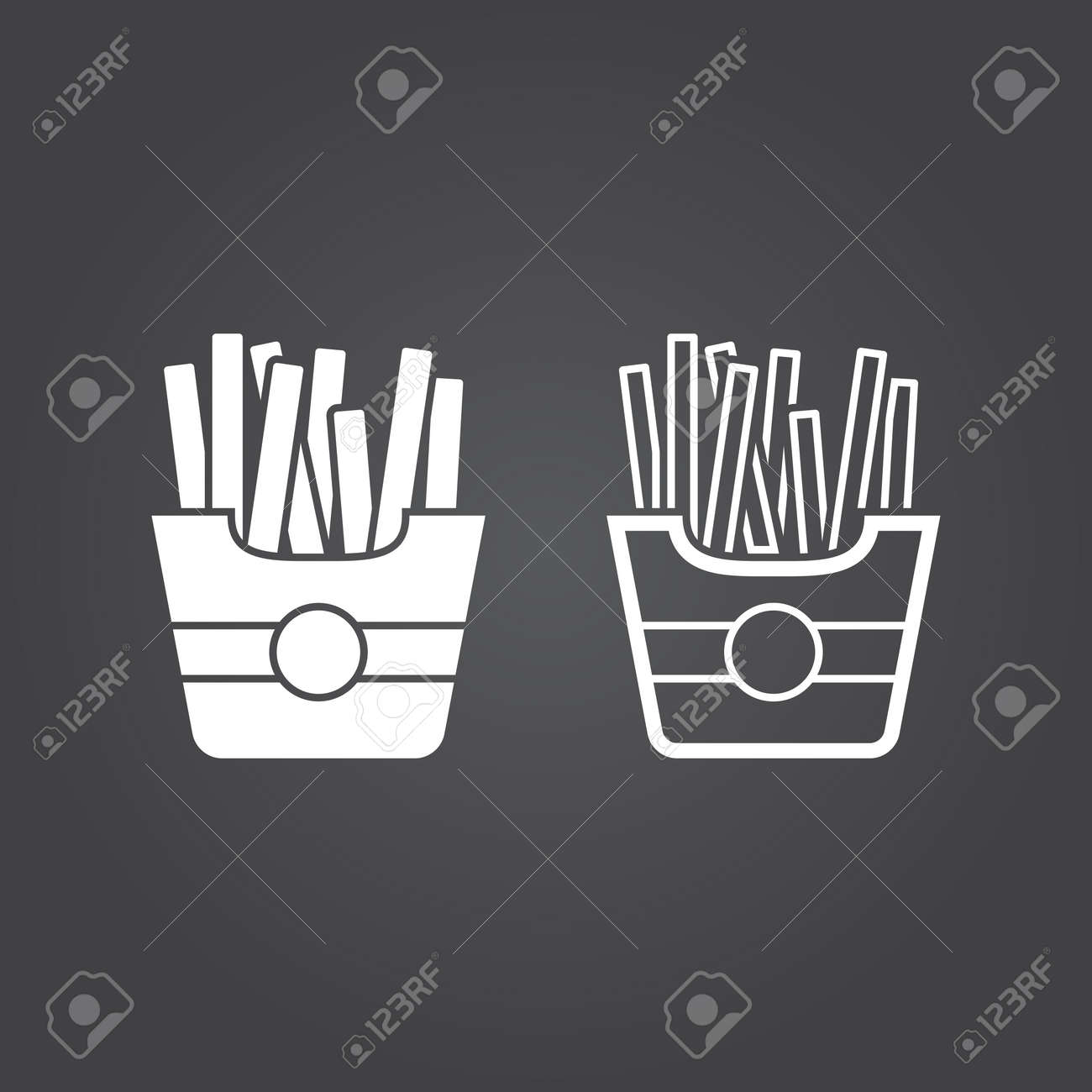 french fries icon  Solid and Outline Versions  White icons on