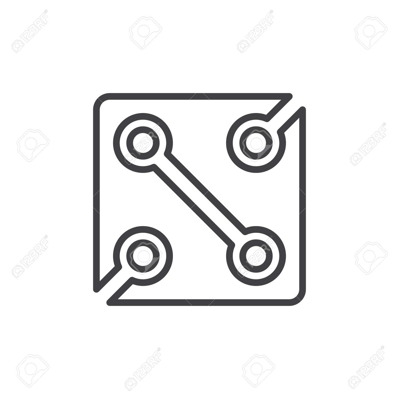 Electronics Circuit Line Icon, Outline Vector Sign, Linear Style ...