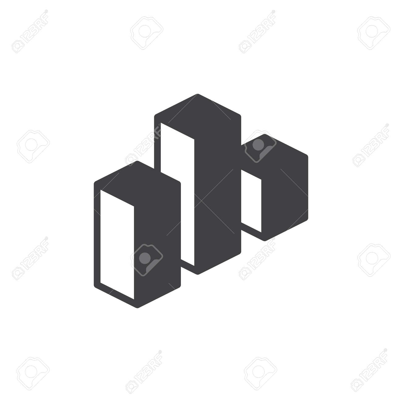 Bar Chart Icon Vector Filled Flat Sign Solid Pictogram Isolated