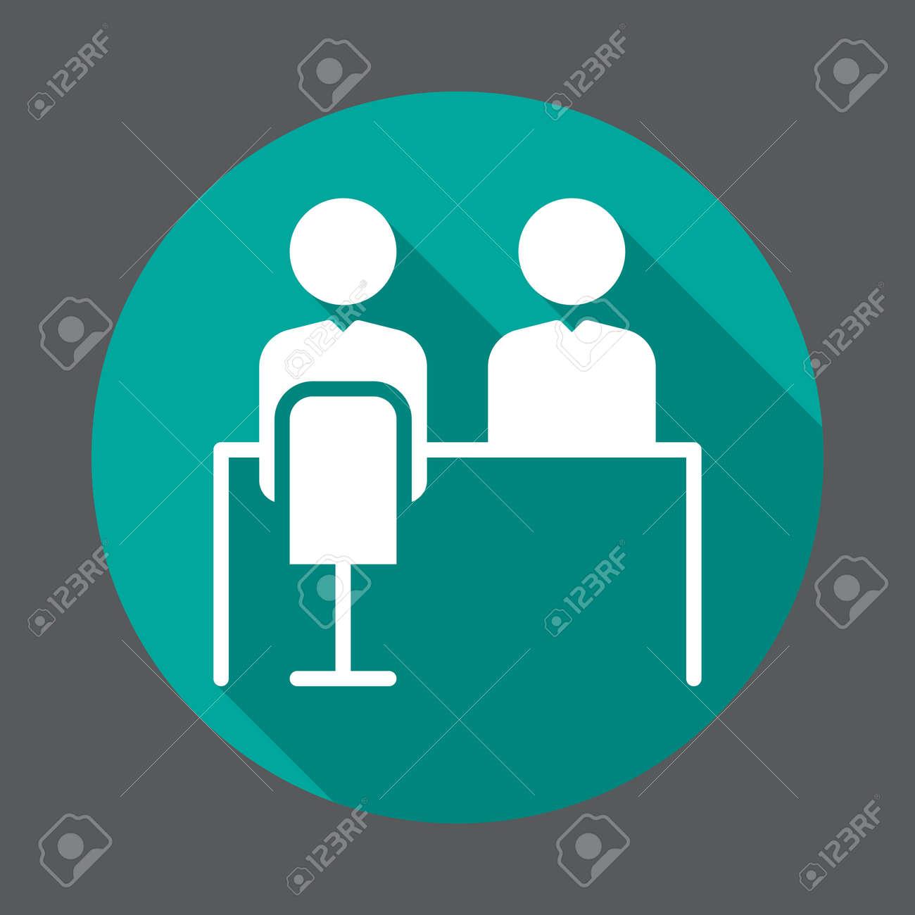 Job interview flat icon  Round colorful button, circular vector