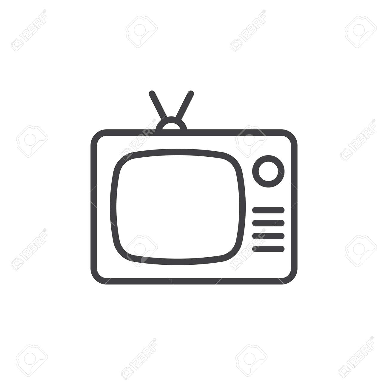 Tv, Old Television Line Icon, Outline Vector Sign, Linear Style ... for Tv Antenna Symbol  177nar