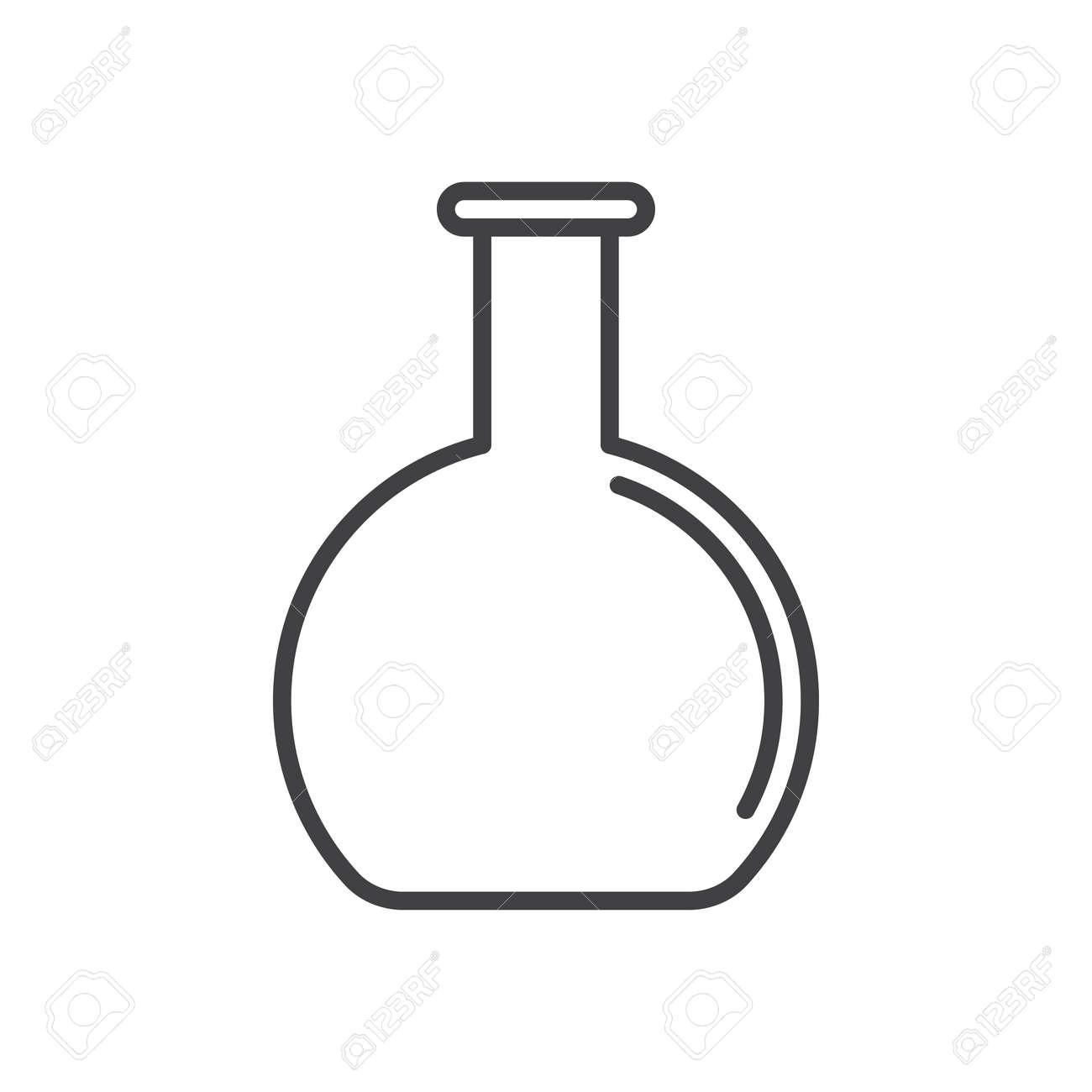 flat bottom flask beaker line icon outline vector sign linear rh 123rf com beaker vector image free beaker vector image