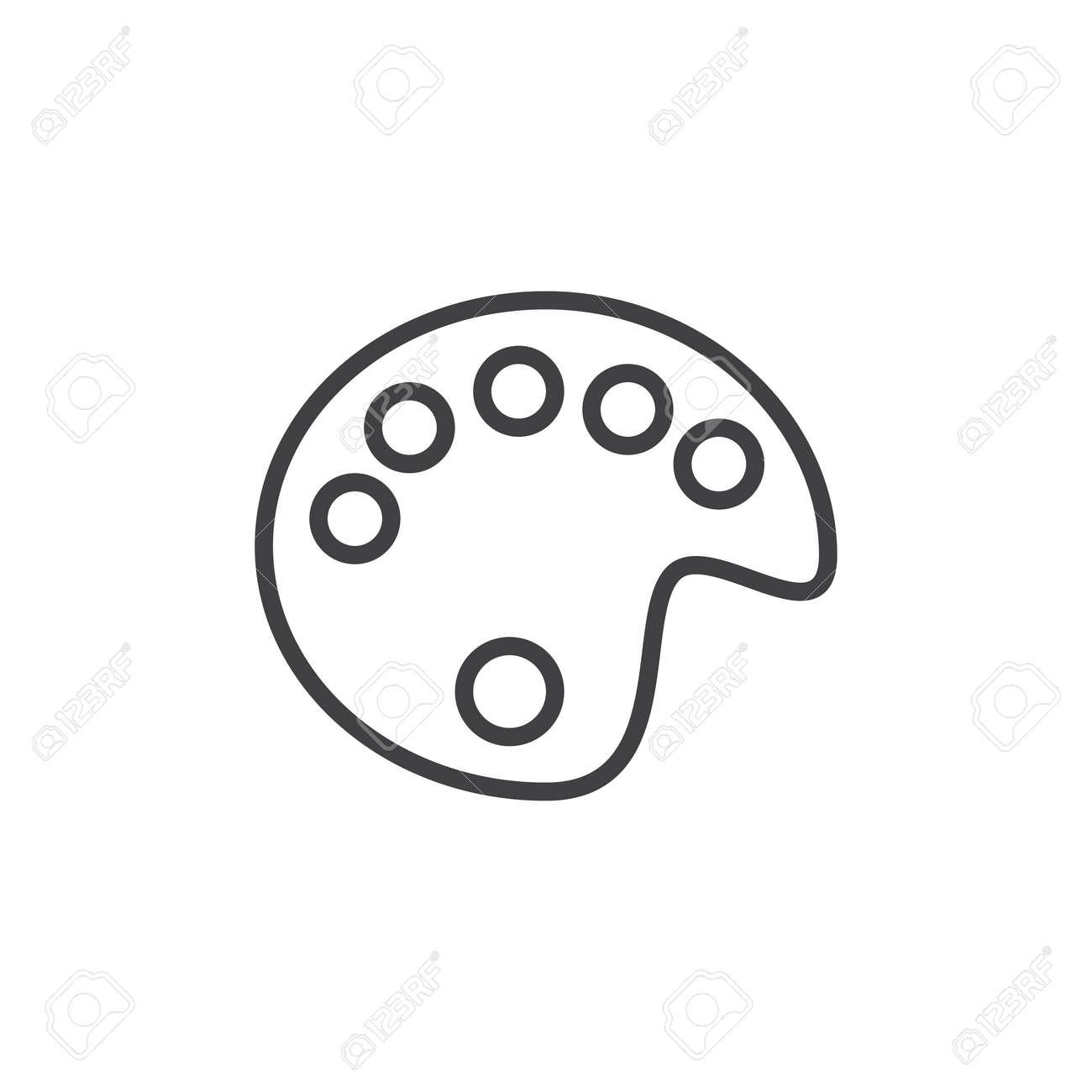 Dessin De Licône De La Ligne De La Palette De Couleurs Du Contour Du Signe Vectoriel Du Pictogramme De Style Linéaire Isolé Sur Blanc Symbole