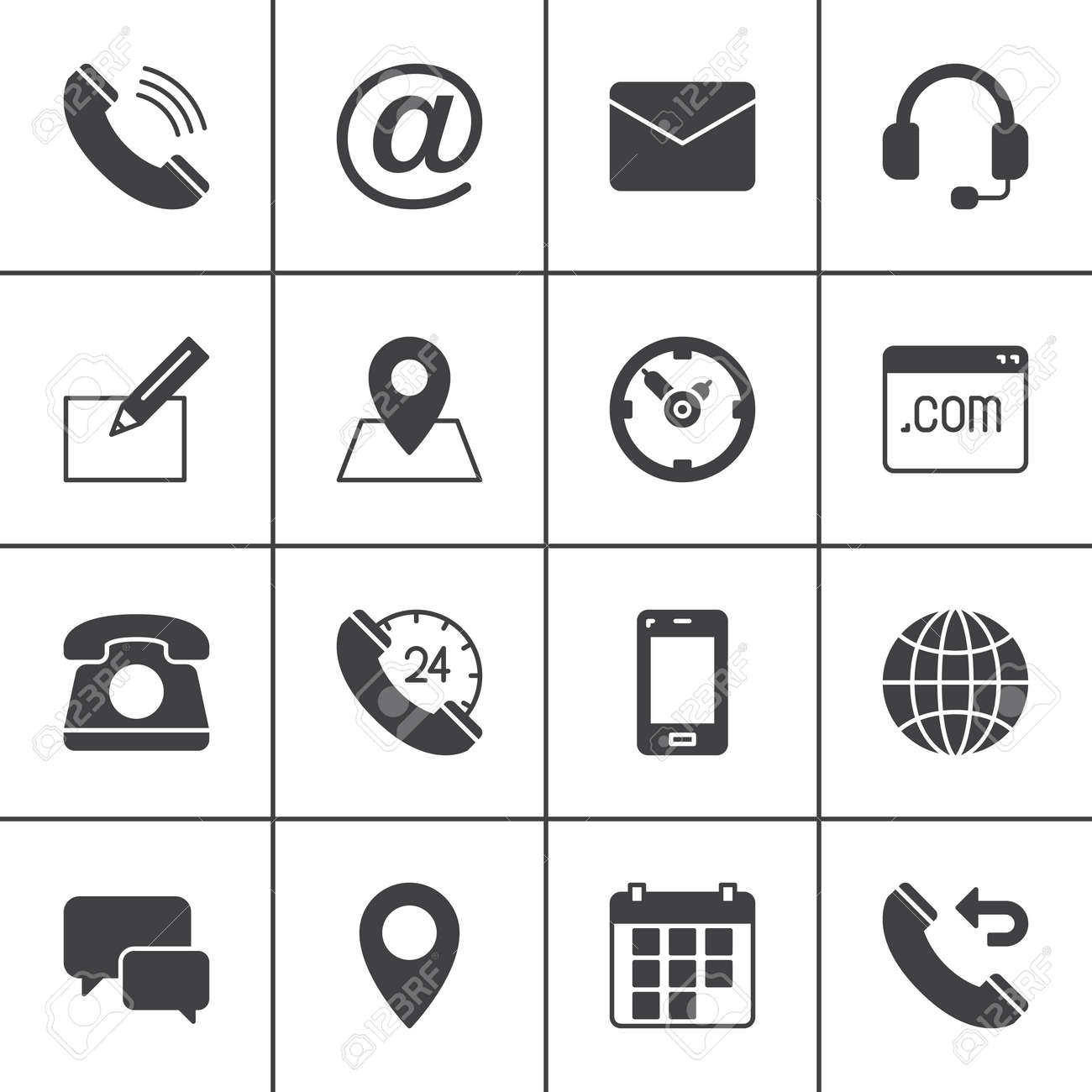 Contact vector icons set, modern solid symbol collection, filled