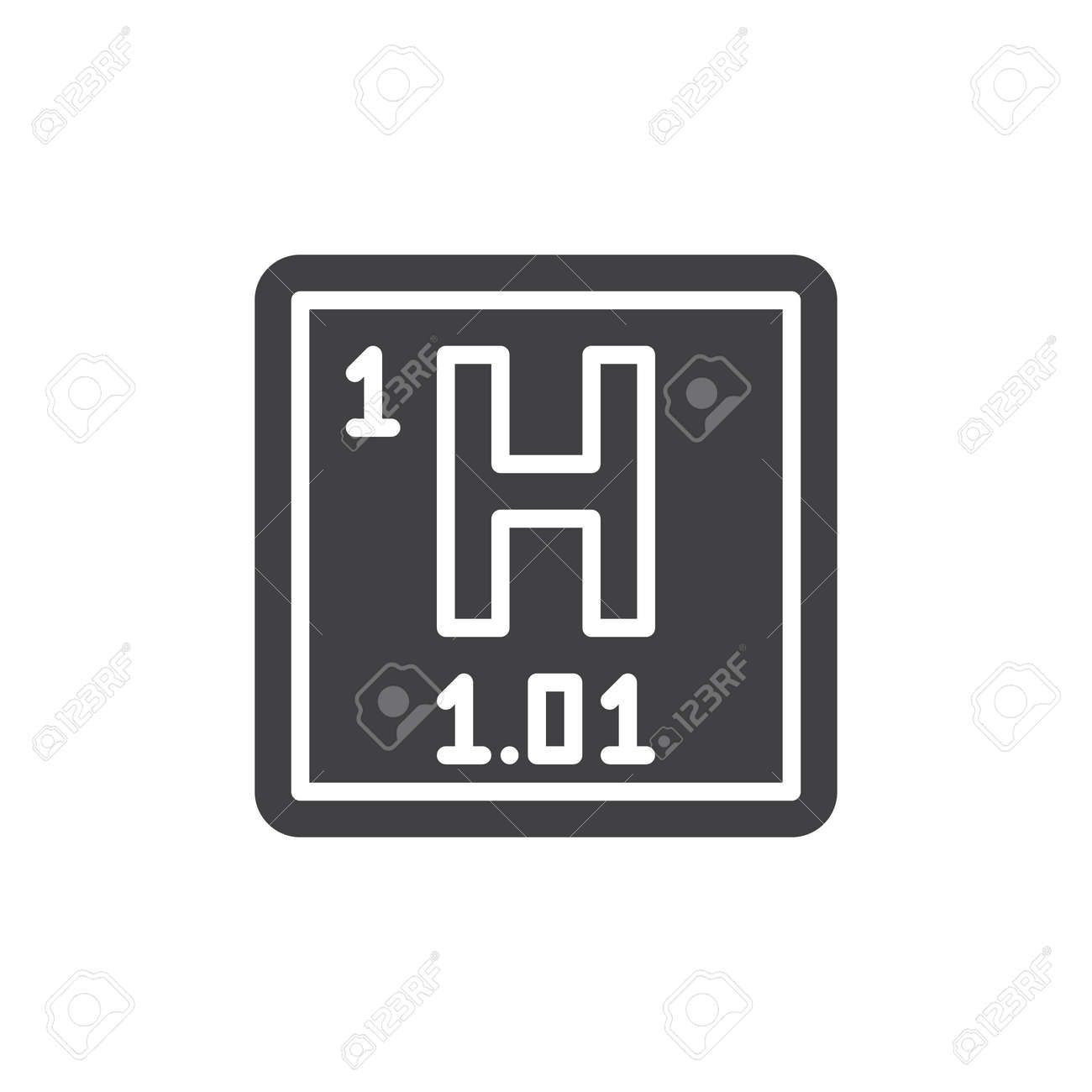 Hydrogen Chemical Element Icon Vector Filled Flat Sign Solid