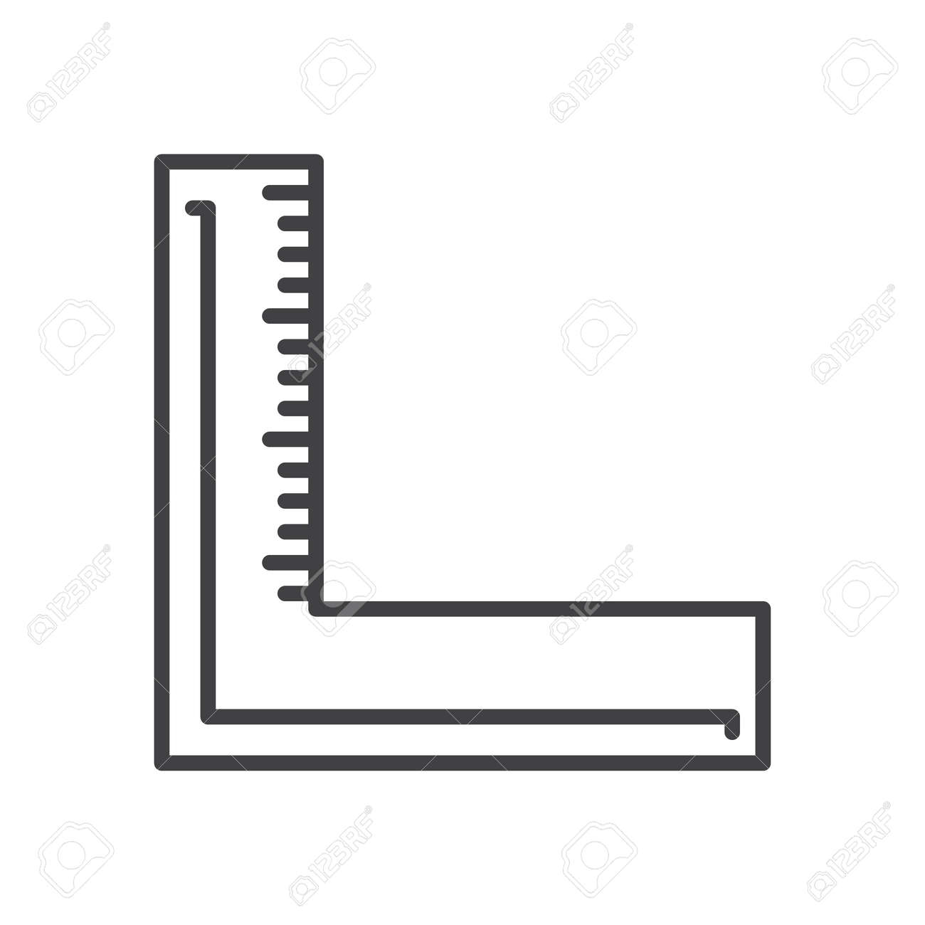 Precision Square Line Icon Outline Vector Sign Linear Style Squarer Pictogram Isolated On White