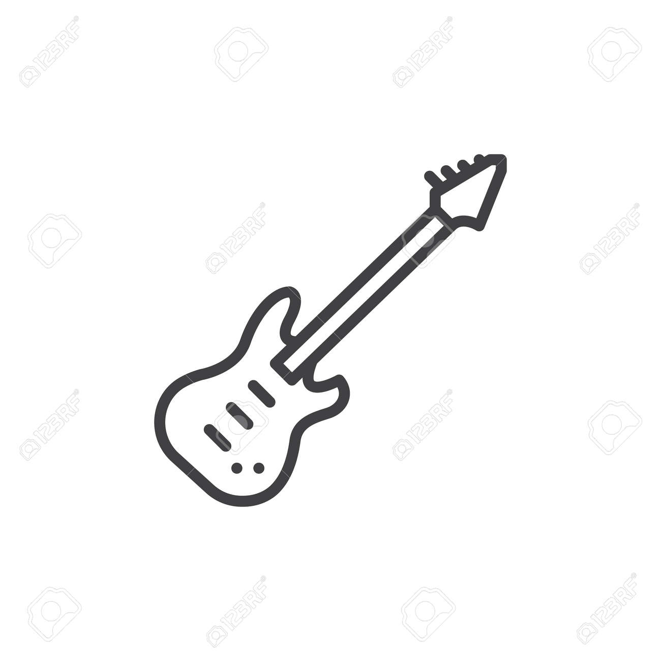 Electric Guitar Line Icon Outline Vector Sign Linear Style