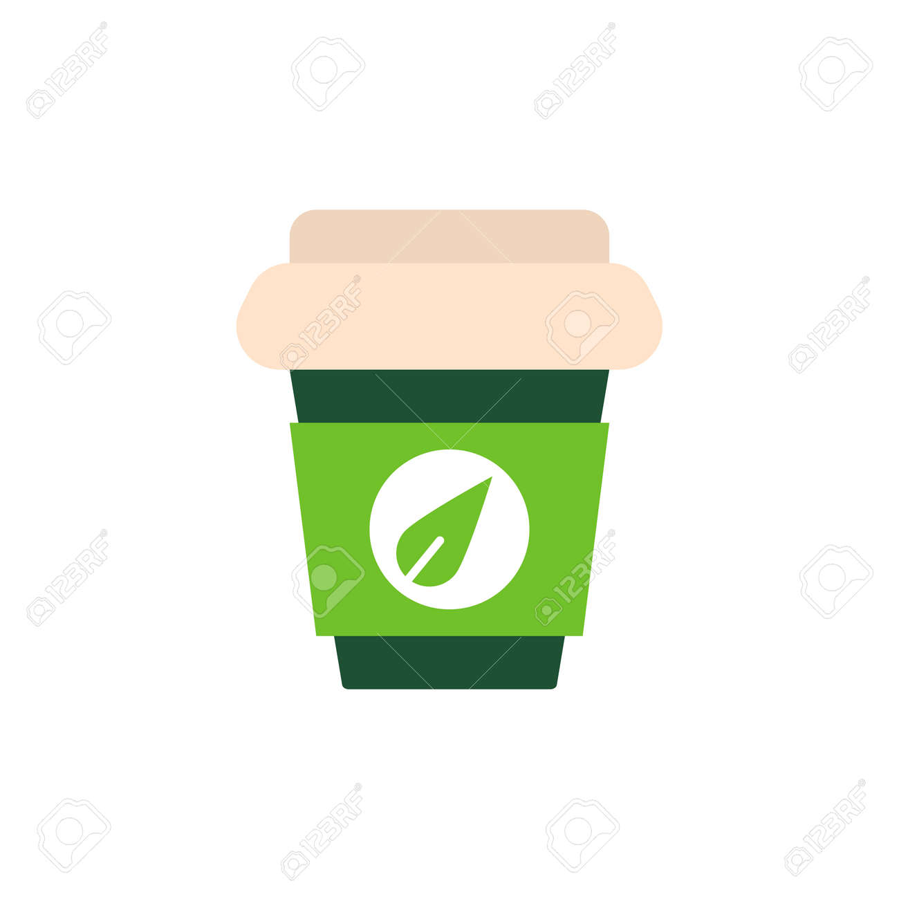 green tea paper cup flat icon vector sign colorful pictogram