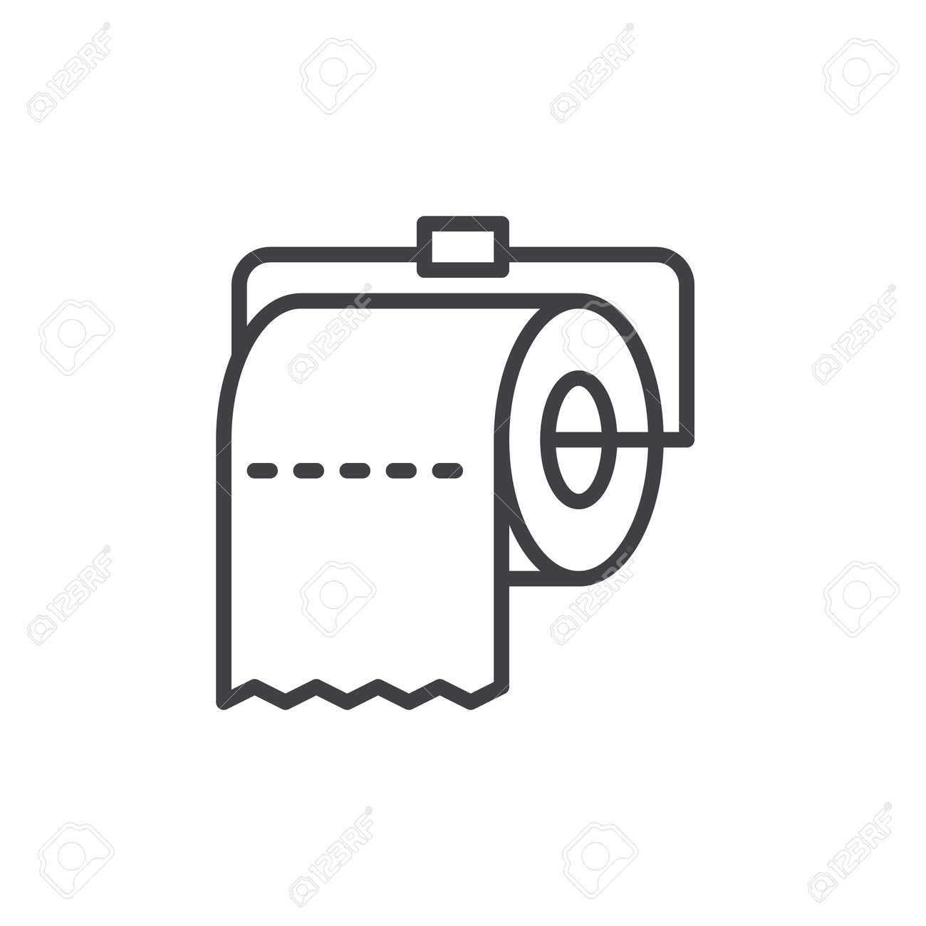 Toilet Paper Roll Line Icon, Outline Vector Sign, Linear Style ...