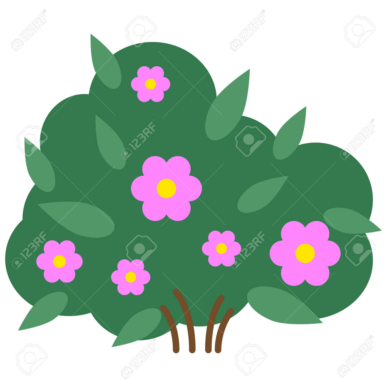 Colorful Cartoon Flowers Bush Wiring Diagrams