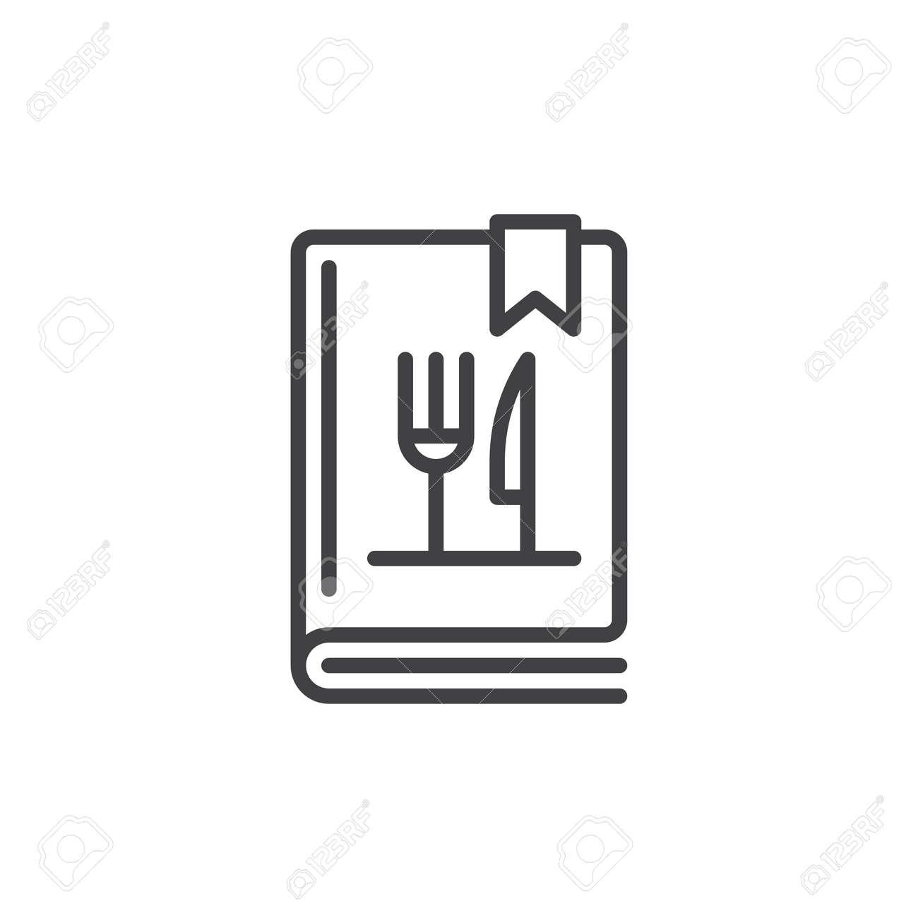 Icone De Ligne Livre De Cuisine Ou Livre De Cuisine Contour Vector Signe Pictogramme De Style Lineaire Isole Sur Blanc Symbole Illustration De
