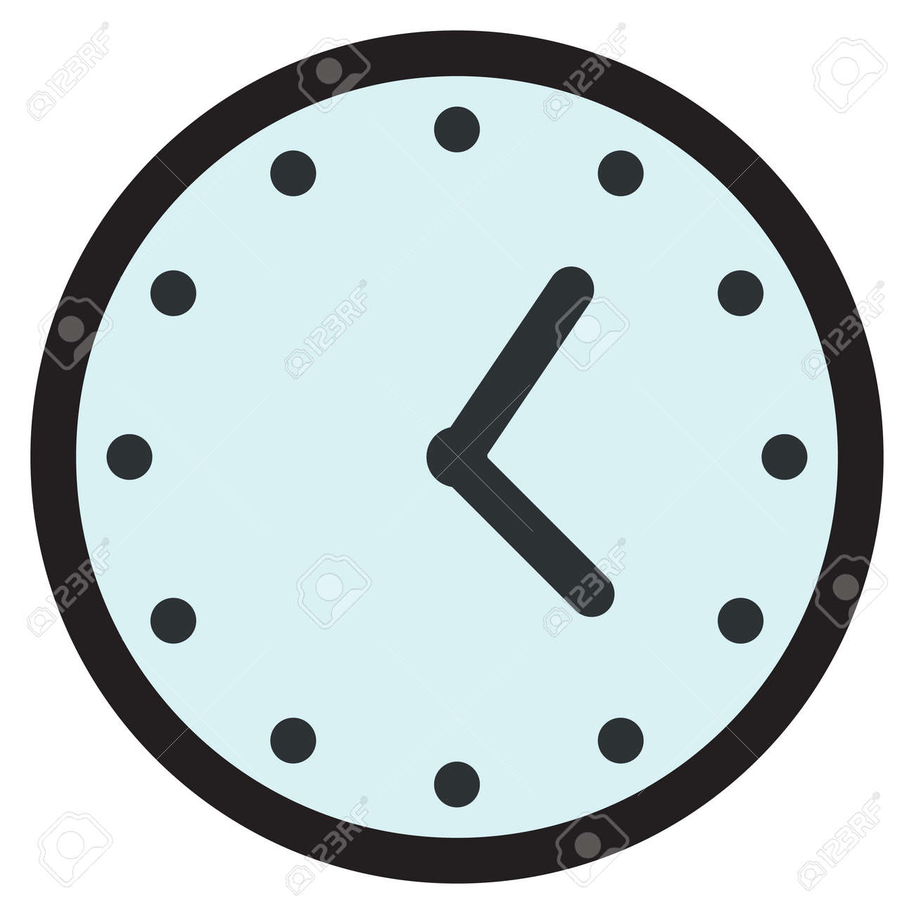 Wall round analog clock face, watch icon, vector illustration