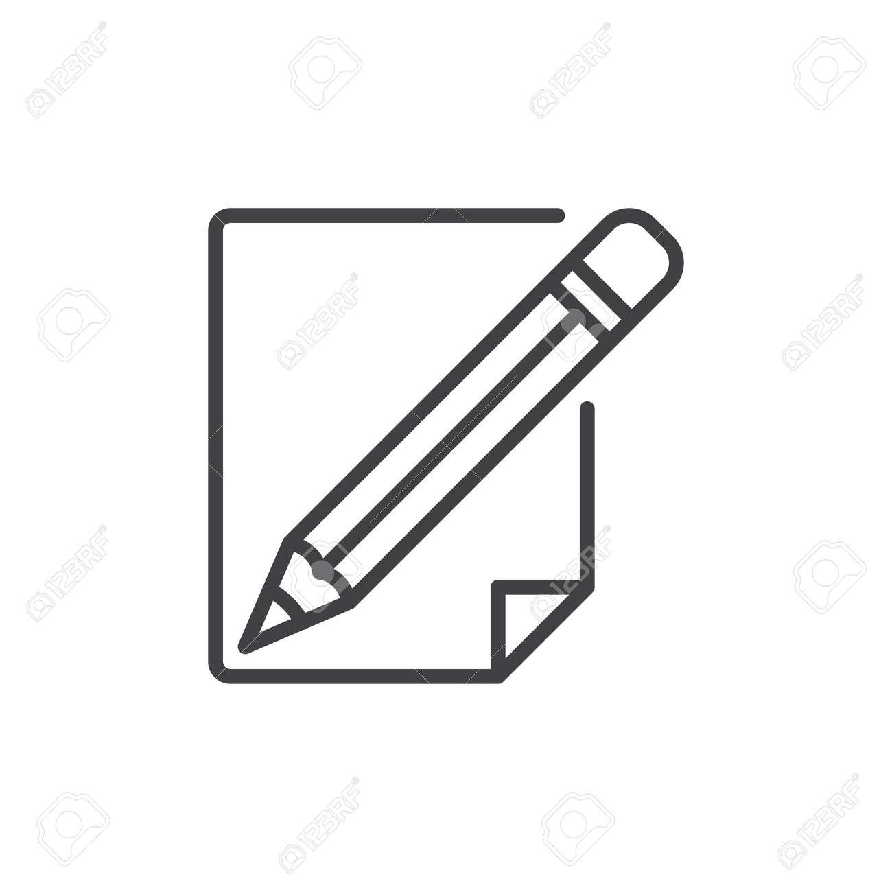 Icono De Línea De Lápiz Y Papel, Signo De Vector De Contorno ...