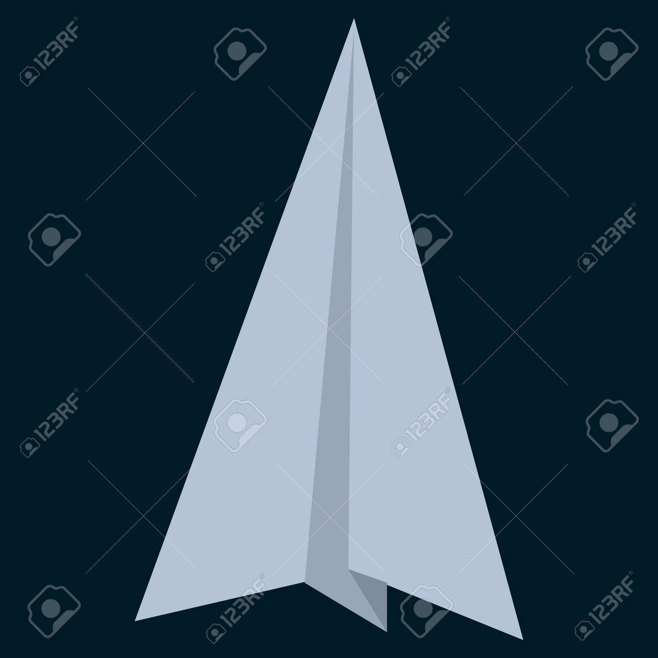 Paper Origami Plane Flat Icon Vector Sign Colorful Pictogram Isolated On Black Symbol